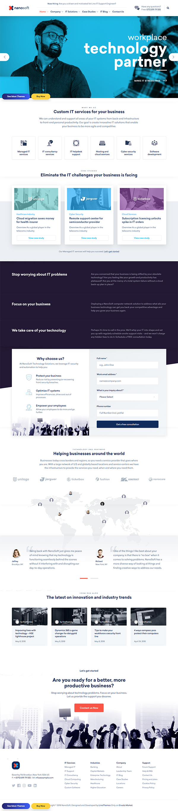 Nanosoft - WP Theme for IT Solutions and Services Company