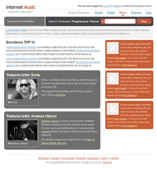 Csstemplates1 in 50 Free CSS/(X)HTML Templates
