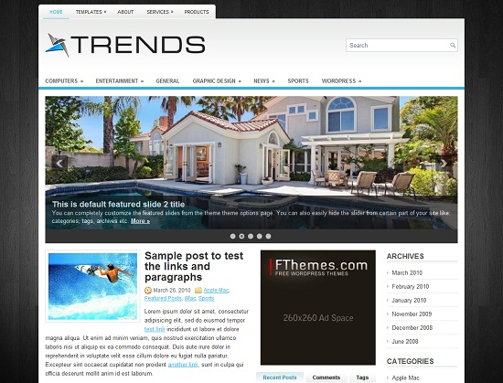 Trends 35 Free and Professional looking WordPress Themes