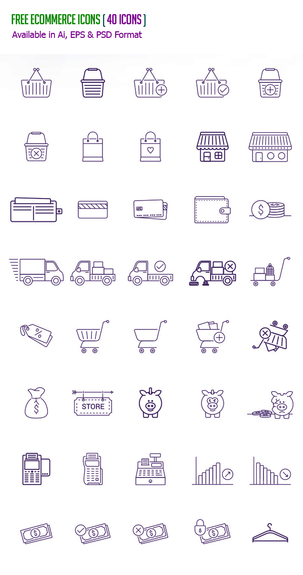 Free eCommerce Icons - (40 Icons Available in Ai, EPS & PSD)